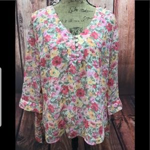 NEW Coldwater Creek flor tie 3/4 sleeve blouse